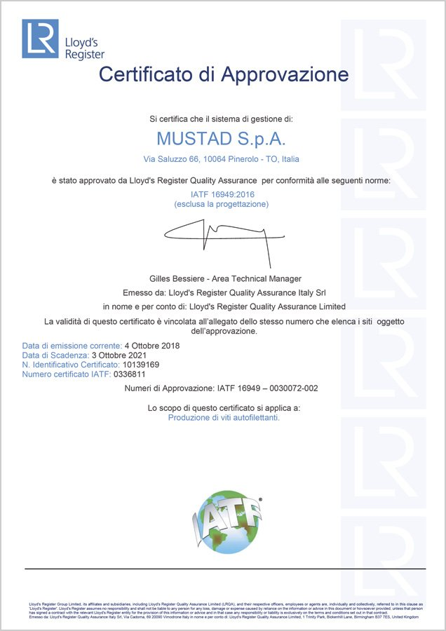 certificato mustad IATF 16949 2018